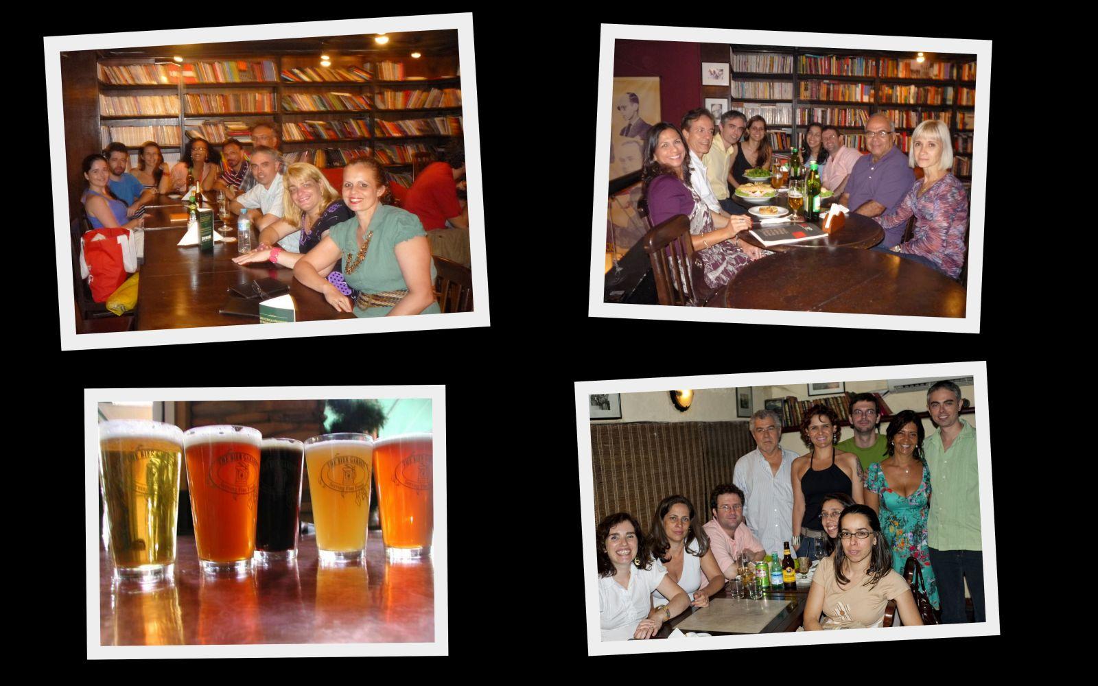 Chopes presenciais com ex-alunos e amigos na Livraria Prefácio, Rio de Janeiro.